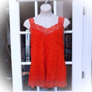 """""""Crinkle"""" Tank with Lace Trim"""